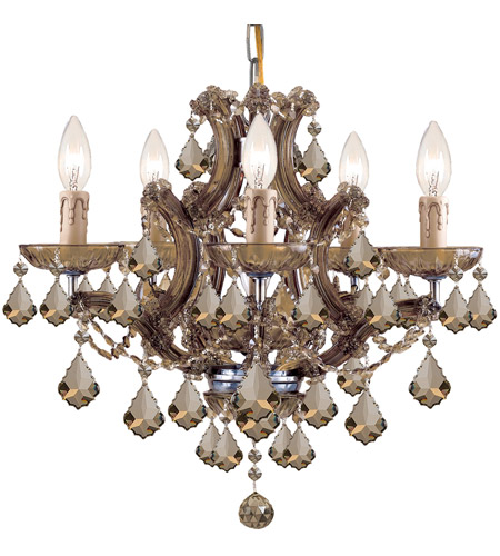 Crystorama Maria Theresa 6 Light Mini Chandelier in Antique Brass 4405-AB-GTS photo