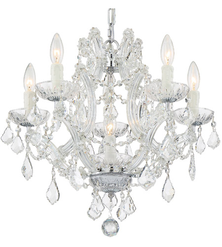 Crystorama 4405-CH-CL-S Maria Theresa 6 Light 20 inch Polished Chrome Mini Chandelier Ceiling Light in Polished Chrome (CH), Clear Swarovski Strass photo