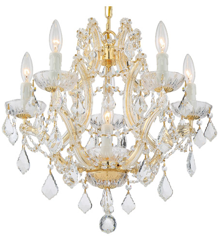 Crystorama Maria Theresa 6 Light Chandelier in Gold, Clear Crystal, Swarovski Spectra 4405-GD-CL-SAQ photo