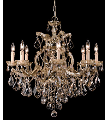 Crystorama Maria Theresa 9 Light Chandelier in Antique Brass, Golden Teak, Hand Cut 4409-AB-GT-MWP photo