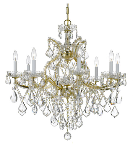 Crystorama 4409-GD-CL-SAQ Maria Theresa 9 Light 28 inch Gold Chandelier Ceiling Light in Swarovski Spectra (SAQ), Gold (GD) photo