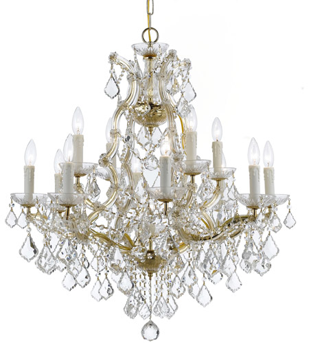 Crystorama 4412-GD-CL-MWP Maria Theresa 13 Light 29 inch Gold Chandelier Ceiling Light in 12, Hand Cut, Gold (GD) photo