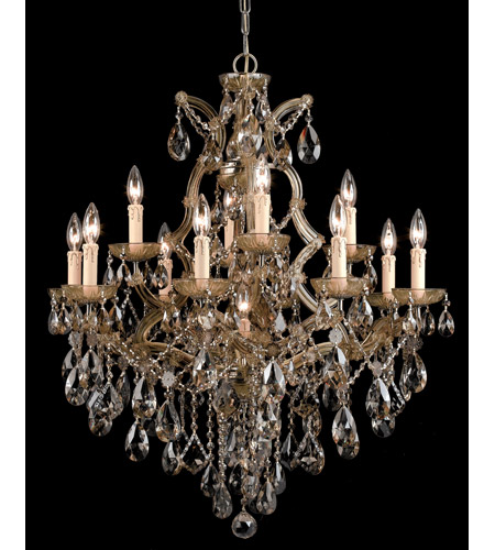 Crystorama Maria Theresa 13 Light Chandelier in Antique Brass, Golden Teak, Hand Cut 4413-AB-GT-MWP photo