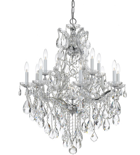 Crystorama 4413-CH-CL-S Maria Theresa 13 Light 28 inch Polished Chrome Chandelier Ceiling Light in Polished Chrome (CH), 12, Clear Swarovski Strass photo