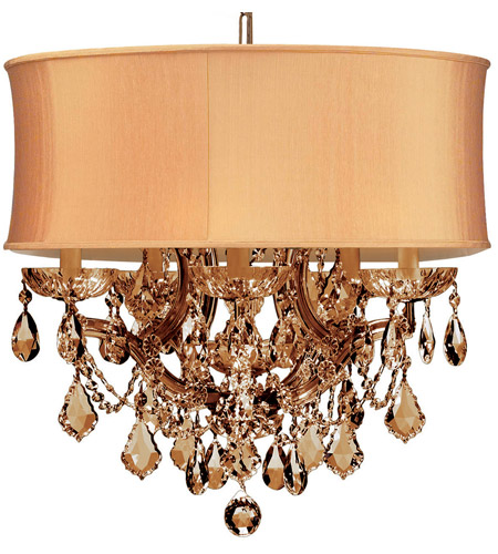 Crystorama 4415-AB-SHG-GTS Brentwood 6 Light 20 inch Antique Brass Chandelier Ceiling Light in Golden Teak (GT), Swarovski Elements (S), Antique Brass (AB), Harvest Gold (SHG) photo