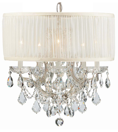 Crystorama 4415-CH-SAW-CLQ Brentwood 6 Light 20 inch Polished Chrome Chandelier Ceiling Light in Clear Crystal (CL), Swarovski Spectra (SAQ), Polished Chrome (CH), Pleated Antique White (SAW) photo