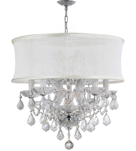 Crystorama 4415-CH-SMW-CLS Brentwood 6 Light 20 inch Polished Chrome Mini Chandelier Ceiling Light in Polished Chrome (CH), Smooth Antique White, Clear Swarovski Strass photo