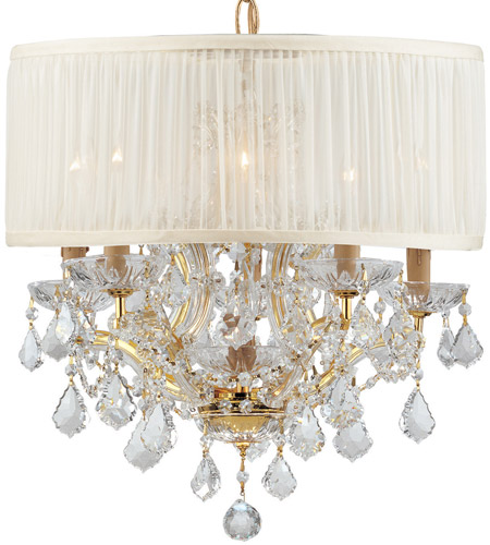 Crystorama Brentwood 6 Light Chandelier in Gold, Clear Crystal, Swarovski Spectra, Pleated Antique White 4415-GD-SAW-CLQ photo