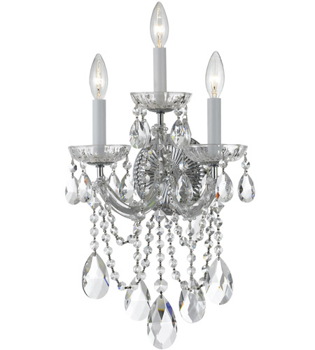 Crystorama 4423-CH-CL-S Maria Theresa 3 Light 11 inch Polished Chrome Wall Sconce Wall Light in Swarovski Elements (S), Polished Chrome (CH) photo