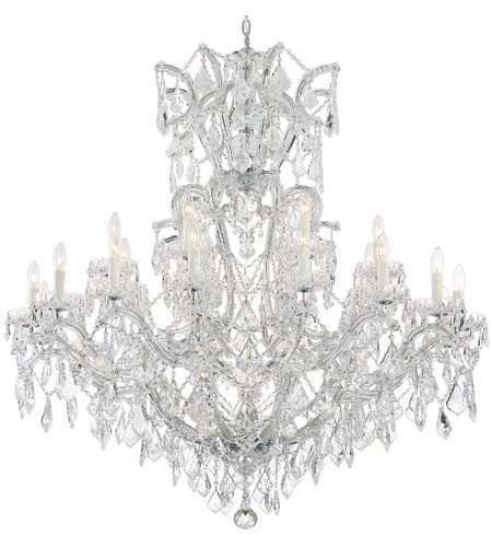 Crystorama 4424-CH-CL-SAQ Maria Theresa 25 Light 46 inch Polished Chrome Chandelier Ceiling Light in Swarovski Spectra (SAQ), Polished Chrome (CH) photo