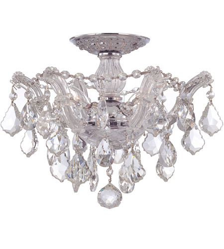 Crystorama 4430-CH-CL-MWP Maria Theresa 3 Light 14 inch Polished Chrome Semi Flush Mount Ceiling Light in Polished Chrome (CH), Clear Hand Cut photo
