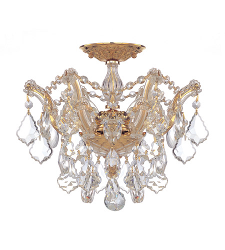 Crystorama 4430-GD-CL-MWP Maria Theresa 3 Light 14 inch Gold Semi Flush Mount Ceiling Light in Gold (GD), Clear Hand Cut photo