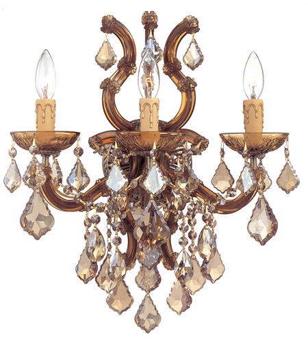 Crystorama 4433-AB-GTS Maria Theresa 3 Light 17 inch Antique Brass Wall Sconce Wall Light in Golden Teak (GT), Swarovski Elements (S), Antique Brass (AB) photo