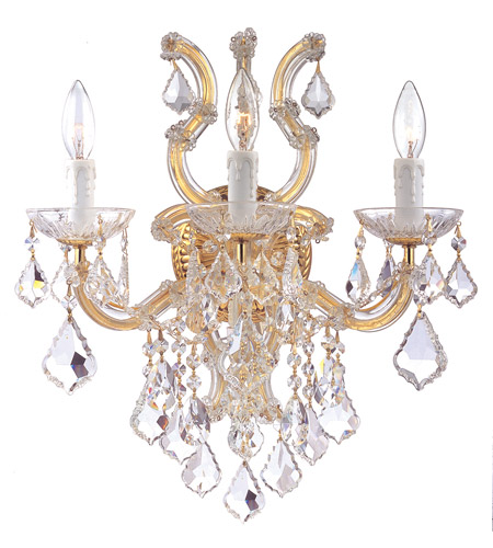 Crystorama 4433-GD-CL-S Maria Theresa 3 Light 17 inch Gold Wall Sconce Wall Light in Clear Crystal (CL), Swarovski Elements (S), Gold (GD) photo