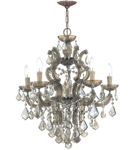 Crystorama Maria Theresa 5 Light Chandelier in Antique Brass, Golden Teak, Swarovski Elements 4435-AB-GTS photo