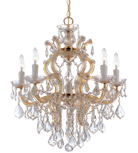 Crystorama 4435-GD-CL-SAQ Maria Theresa 6 Light 23 inch Gold Chandelier Ceiling Light in Gold (GD), 5, Swarovski Spectra (SAQ) photo