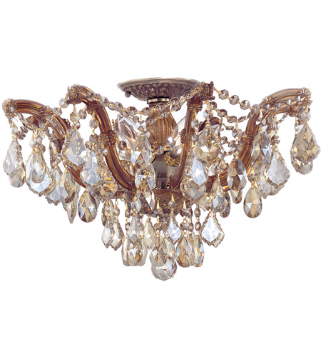 Crystorama 4437-AB-GTS Maria Theresa 5 Light 19 inch Antique Brass Semi Flush Mount Ceiling Light in Golden Teak (GT), Swarovski Elements (S), Antique Brass (AB) photo