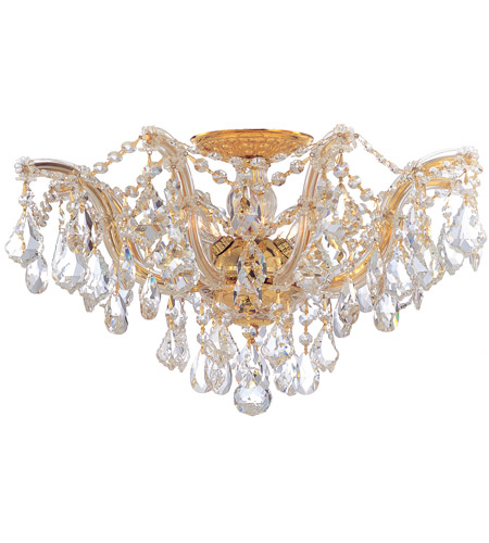 Crystorama 4437-GD-CL-SAQ Maria Theresa 5 Light 19 inch Gold Semi Flush Mount Ceiling Light in Clear Crystal (CL), Swarovski Spectra (SAQ), Gold (GD) photo