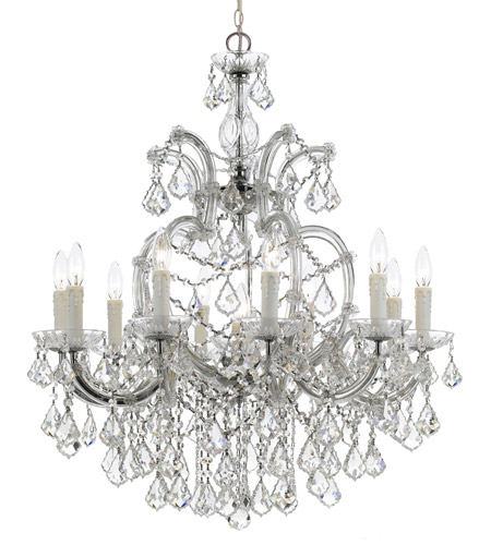 Crystorama 4438-CH-CL-S Maria Theresa 11 Light 29 inch Polished Chrome Chandelier Ceiling Light in Polished Chrome (CH), Clear Swarovski Strass photo
