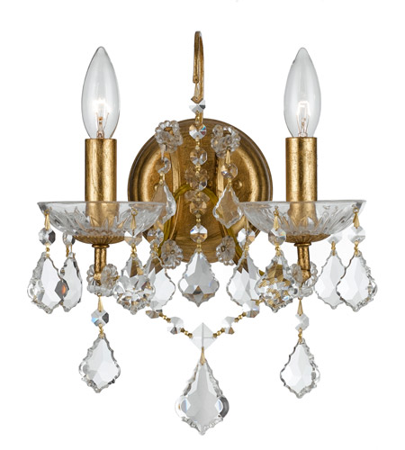 Crystorama 4452-GA-CL-SAQ Filmore 2 Light 10 inch Antique Gold Wall Sconce Wall Light in Swarovski Spectra (SAQ), Antique Gold (GA) photo