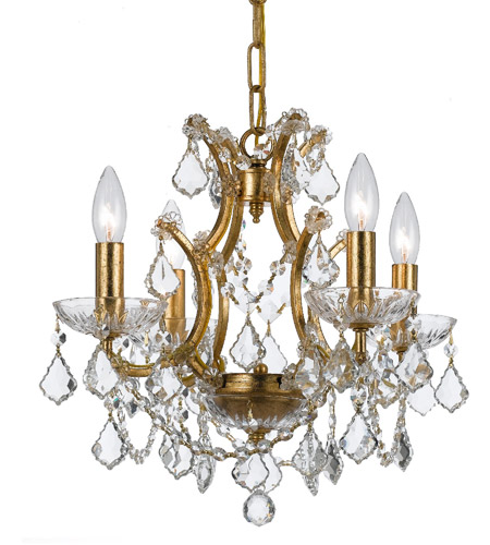 Crystorama 4454-GA-CL-S Filmore 4 Light 18 inch Antique Gold Mini Chandelier Ceiling Light in Antique Gold (GA), Clear Swarovski Strass photo