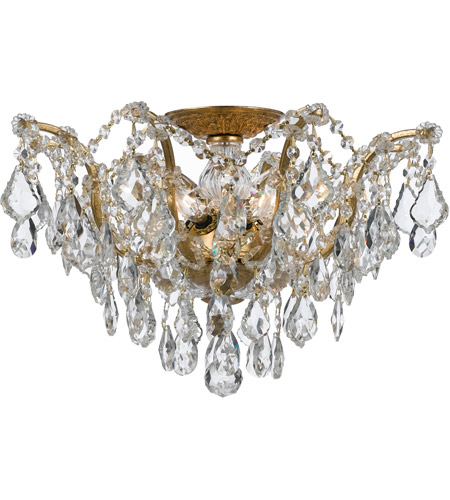 Crystorama 4457-GA-CL-S Filmore 5 Light 19 inch Antique Gold Semi Flush Mount Ceiling Light in Swarovski Elements (S), Antique Gold (GA) photo
