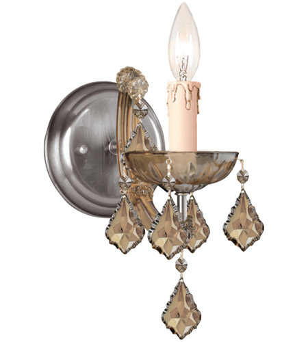 Crystorama 4471-AB-GTS Maria Theresa 1 Light 5 inch Antique Brass Wall Sconce Wall Light in Antique Brass (AB), Golden Teak Hand Cut photo