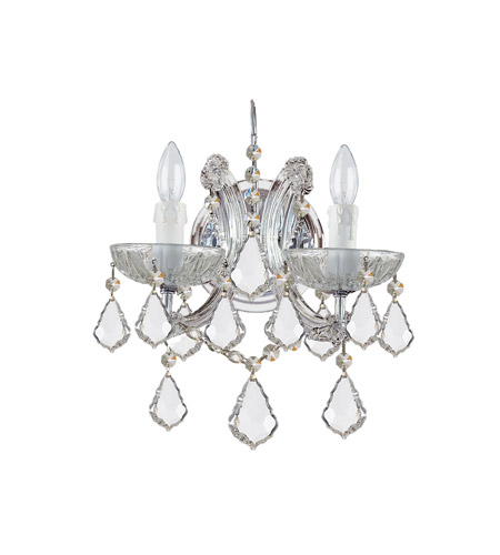 Crystorama 4472-CH-CL-S Maria Theresa 2 Light 11 inch Polished Chrome Wall Sconce Wall Light in Polished Chrome (CH), Clear Swarovski Strass, 10.5-in Width photo