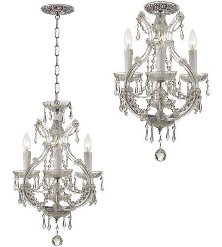 Crystorama 4473-CH-CL-I Maria Theresa 4 Light 12 inch Polished Chrome Mini Chandelier Ceiling Light in Chrome (CH), Clear Italian photo