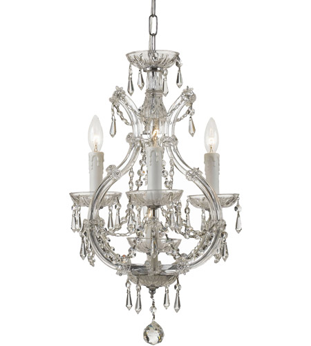 Crystorama 4473-CH-CL-MWP Maria Theresa 4 Light 12 inch Polished Chrome Mini Chandelier Ceiling Light in Polished Chrome (CH), Clear Hand Cut photo