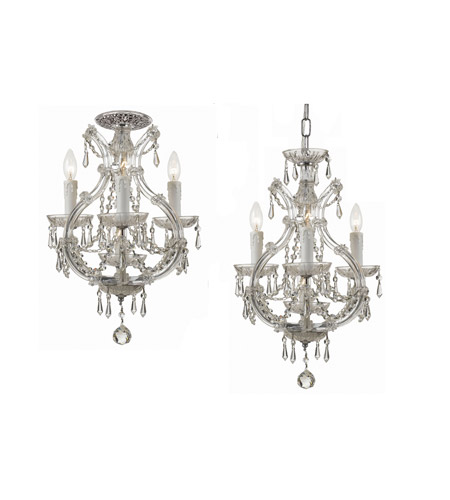 Crystorama Maria Theresa 4 Light Flush Mount in Polished Chrome with Swarovski Spectra Crystals 4473-CH-CL-SAQ_FLUSH photo
