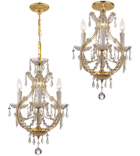 Crystorama 4473-GD-CL-I Maria Theresa 4 Light 12 inch Gold Mini Chandelier Ceiling Light in Polished Chrome (CH), 3, Clear Italian photo