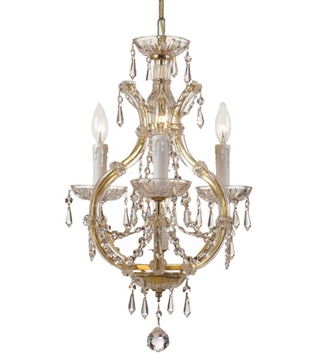 Crystorama 4473-GD-CL-SAQ Maria Theresa 4 Light 12 inch Gold Mini Chandelier Ceiling Light in Gold (GD), 3, Swarovski Spectra (SAQ) photo