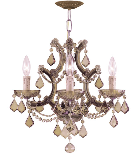 Crystorama Maria Theresa 4 Light Mini Chandelier in Antique Brass, Golden Teak, Hand Cut 4474-AB-GT-MWP photo