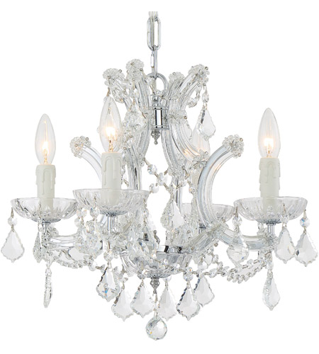 Crystorama 4474-CH-CL-S Maria Theresa 4 Light 17 inch Polished Chrome Mini Chandelier Ceiling Light in Polished Chrome (CH), Clear Swarovski Strass photo