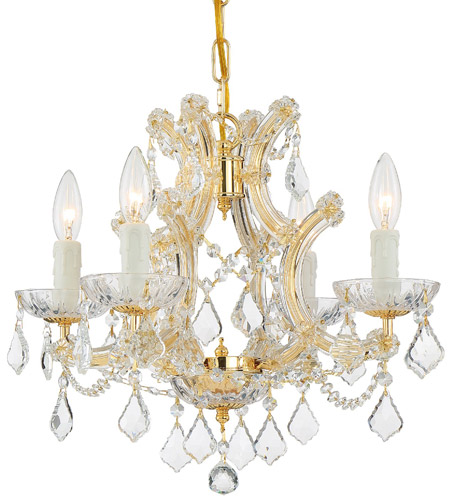 Crystorama 4474-GD-CL-SAQ Maria Theresa 4 Light 17 inch Gold Mini Chandelier Ceiling Light in Clear Crystal (CL), Swarovski Spectra (SAQ), Gold (GD) photo