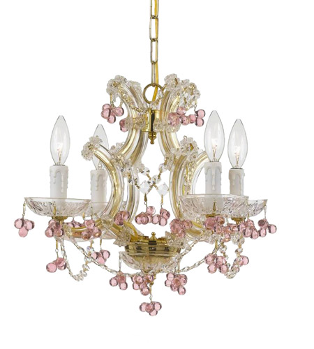Crystorama Maria Theresa 4 Light Mini Chandelier in Gold 4474-GD-ROSA photo