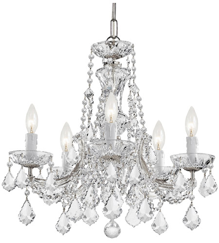 Crystorama 4476-CH-CL-S Maria Theresa 5 Light 20 inch Polished Chrome Mini Chandelier Ceiling Light in Polished Chrome (CH), Clear Swarovski Strass photo
