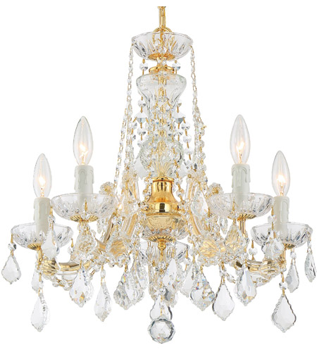 Crystorama 4476-GD-CL-MWP Maria Theresa 5 Light 20 inch Gold Mini Chandelier Ceiling Light in Gold (GD), Clear Hand Cut photo