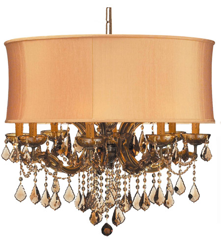 Crystorama 4489-AB-SHG-GTM Brentwood 12 Light 30 inch Antique Brass Chandelier Ceiling Light in Antique Brass (AB), Harvest Gold (SHG), Golden Teak Hand Cut photo