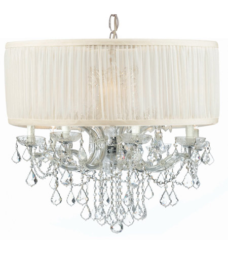 Crystorama 4489-CH-SAW-CLS Brentwood 12 Light 30 inch Polished Chrome Chandelier Ceiling Light in Polished Chrome (CH), Pleated Antique White (SAW), Clear Swarovski Strass photo