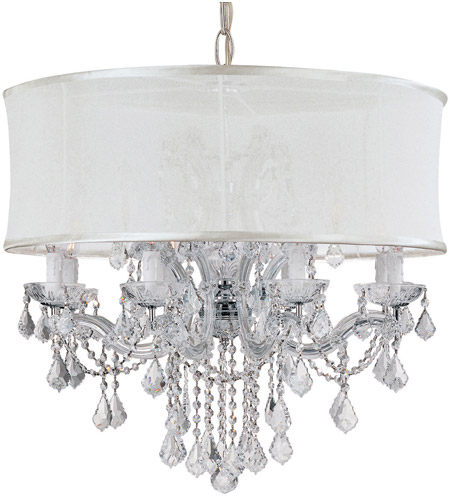 Crystorama 4489-CH-SMW-CLQ Brentwood 12 Light 30 inch Polished Chrome Chandelier Ceiling Light in Swarovski Spectra (SAQ), Smooth Antique White photo