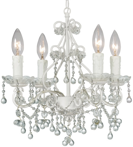 Crystorama 4514-WW-CLEAR Paris Market 4 Light 14 inch Wet White Mini Chandelier Ceiling Light photo