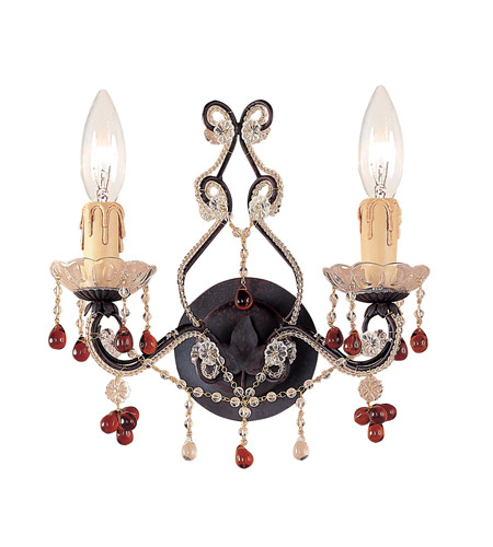 Crystorama Paris Flea Market 2 Light Wall Sconce in Dark Rust 4522-DR photo