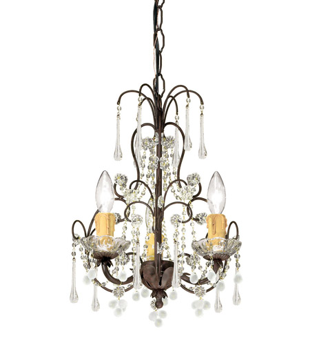 Crystorama 4523-DR Paris Market 3 Light 12 inch Dark Rust Mini Chandelier Ceiling Light in Dark Rust (DR) photo