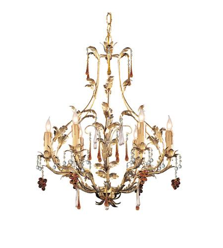 Crystorama Lighting Ritz 6 Light Chandelier In Gold Leaf Murano Crystal 4606 Gl