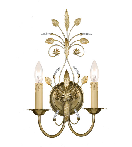 Crystorama 4702-GL Primrose 2 Light 11 inch Gold Leaf Wall Sconce Wall Light photo