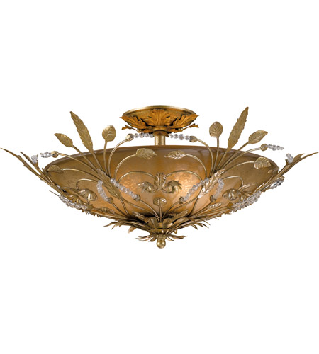 Crystorama 4704 Gl Primrose 6 Light 20 Inch Gold Leaf Semi Flush Mount Ceiling In