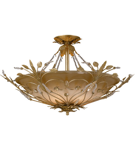 Primrose 6 Light 25 Inch Gold Leaf Semi Flush Mount Ceiling In Gl
