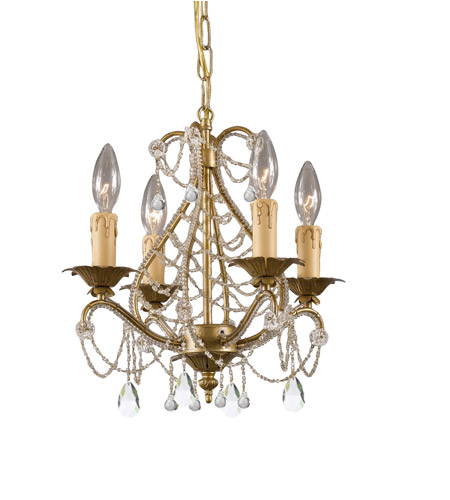 Crystorama Abigail 4 Light Mini Chandelier in Gold Leaf 4714-GL-CL-MWP photo
